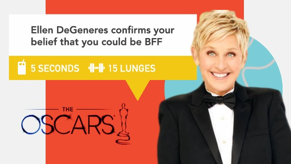 Ellen degeneres confirms your belief that you could be bff on oscars via academy workout drinking games