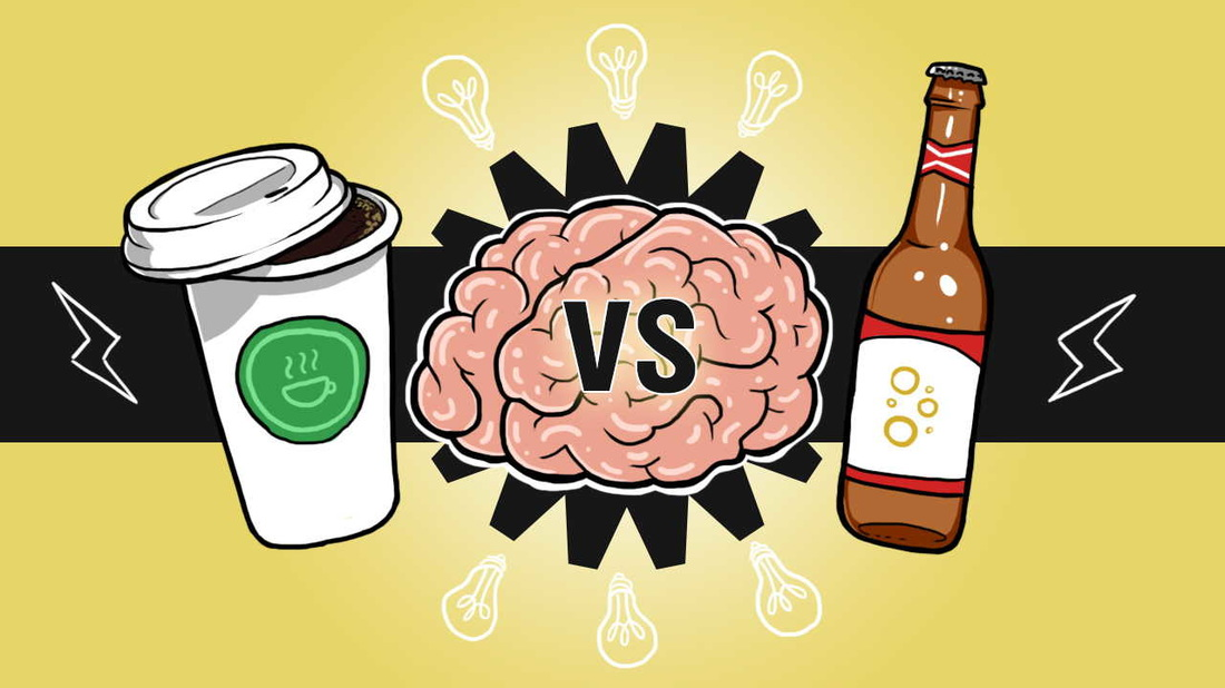 This is Your Brain On Beer vs Coffee - fight between the drunk and the awake