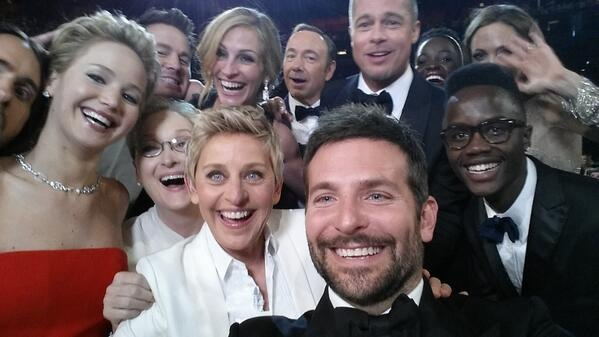 Ellen Tweeted the Group Photo stating- If only Bradley's arm was longer. Best photo ever. #oscars