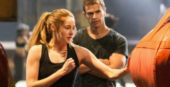Tris trying to make herself strong in order to climb up in Dauntless rankings while Four instructs her | divergent 2014 movie review and recommendations
