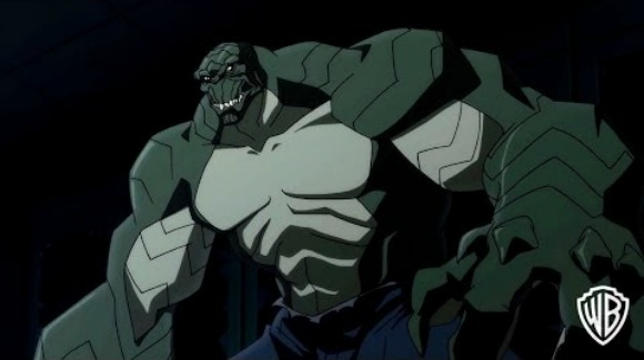 Huge Monstrous Killer Croc fights the Batman while Talia of al Ghul saves Batman from him | son of batman 2014 movie review, animated batman movies