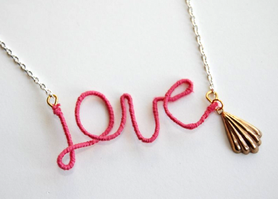 Make Mothers Day Thread Wrapped Love Necklace