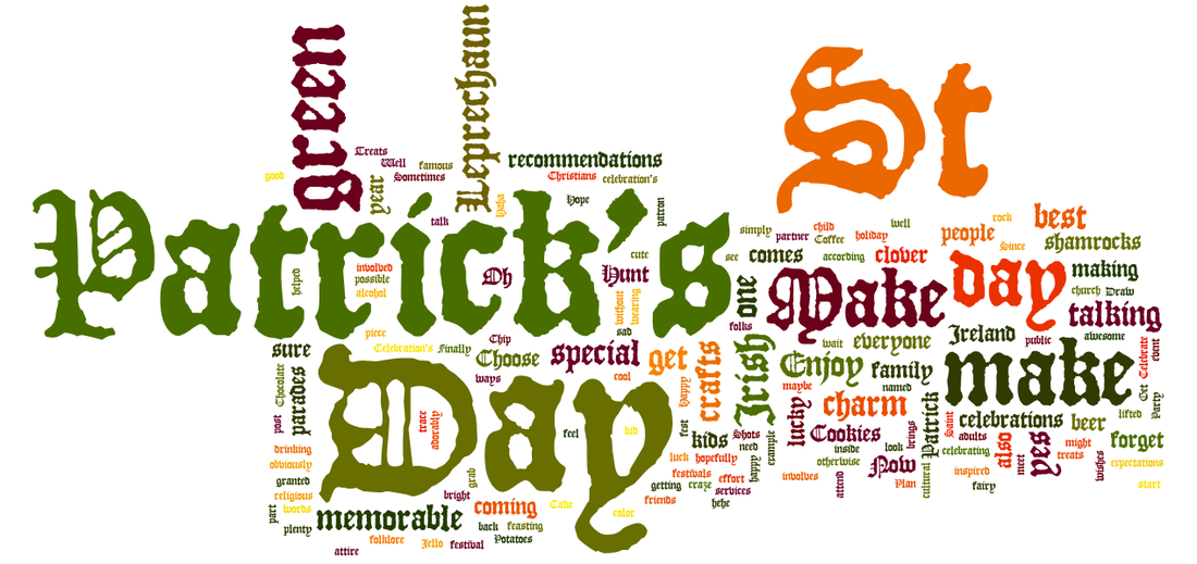 St Patrick's Day tag cloud via geniusknight.weebly.com